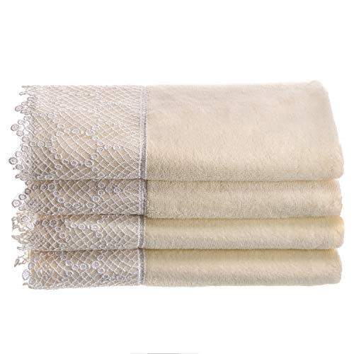 - Creative Scents Fingertip Towels for Bathroom (11x18 inches) Towel Set of 4, Soft Velour Finish, Gorgeous Lace Trim, 100% Cotton, Machine Washable, Perfect for Guest Bathroom! (Cream,Ivory)