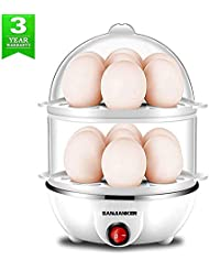 Egg Cooker,350W Electric Egg Maker,White Egg Steamer,Egg Boiler,14 Egg Capacity Egg Cooker With Automatic Shut Off