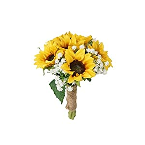SweetHomeDeco Silk Sunflower Baby's Breath Mixed Wedding Bridal Bridesmaid Bouquet Boutonniere for All Season (Yellow-6''W Bouquet) 22