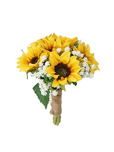 SweetHomeDeco Silk Sunflower Baby's Breath Mixed Wedding Bridal Bridesmaid Bouquet Boutonniere for All Season (Yellow-6''W Bouquet)