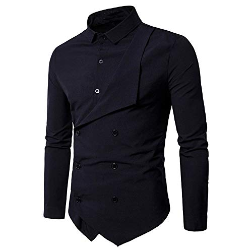 Usstore   Fashion Personality Men's Casual Polyester Slim Long-Sleeved Solid Double-Breasted Lapel Shirt Top Blouse (❤Black, L)