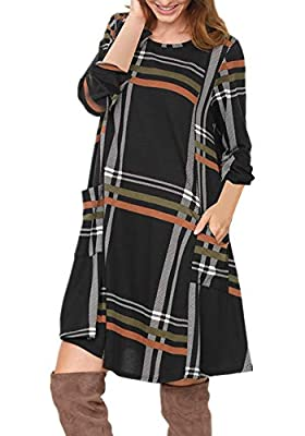 Poulax Women's Casual Color Block 3/4 Sleeve Loose Plaid Shift T-Shirt Dress with Pockets