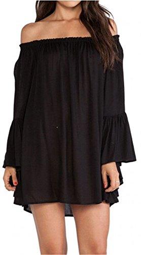Women's Chiffon Ruffle Bell Flare Sleeve Mini Tunic Dress Blouse Top M Black