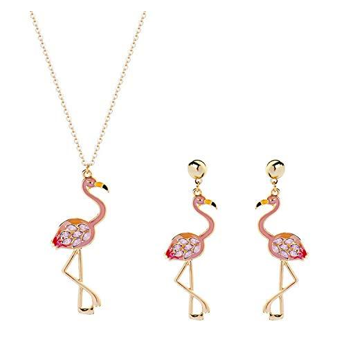 Dcfywl731 2Pcs Flamingo Dangle Earring Necklace Set