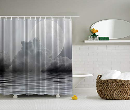 Full Moon Moonlight Mystic Charm Sky Rainy Clouds Gray Dark Midnight Twilight Digital Photographs Print Home Villa Textile Bathroom Decor Art Design for Clawfoot Tub Deluxe Fabric Shower Curtain