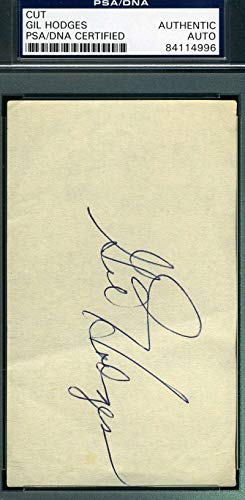 GIL HODGES PSA DNA COA Autograph 3x5 Signed Index Card