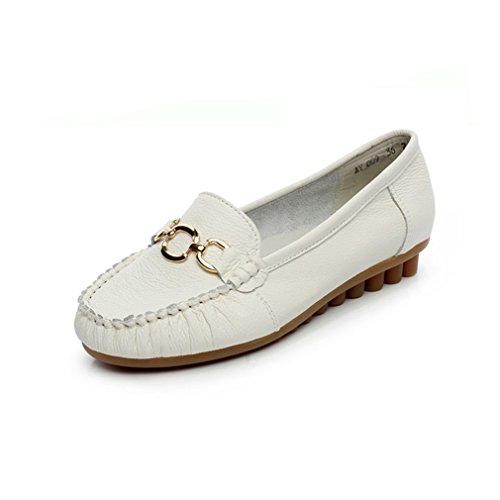 GIY Womens Casual Driving Loafers Comfort Flats Slip-On Buckle Round Toe Penny Loafer Walking Boat Shoes White h2gjI2s2g