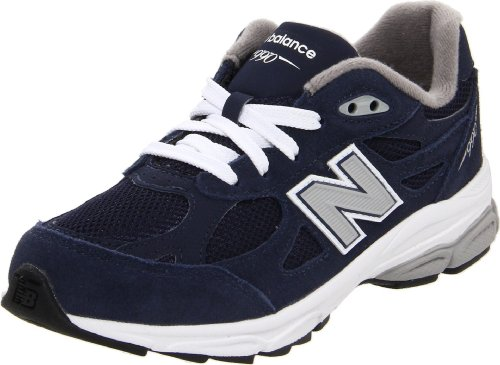 New Balance unisex-child 990v3 Grade School Running Shoes Navy with Grey & White