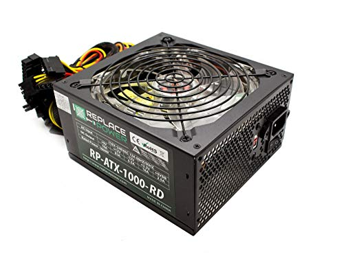 Replace Power® RP-ATX-1000W-RED 1000W ATX Power Supply Red LED