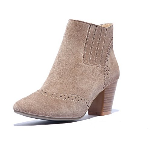 with Closed Carved Kitten toe Women's Chunky heels Boots toe AmoonyFashion Heels and Nude Flower Round SwqHzgx8