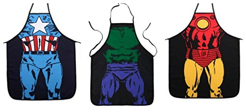 Fraternity Party Halloween Costumes (Marvel Comics The Avenger's Captain America, Hulk, and Ironman Superhero Character Child (Youth, Petite) Apron Set)