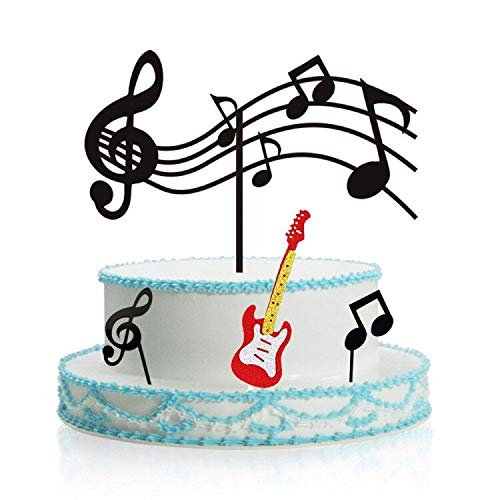- Music Notes Cupcake Toppers Acrylic, Guitar Cake Toppers ,Musical Theme Birthday Party Supplies Rock Cupcake Topper (Black)for Kids Birthday Musician Party