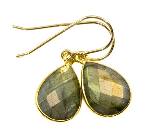 14k Yellow Gold Filled Labradorite Earrings Faceted Teardrops Dainty Golden Green Flash Goldtone Bezel 14k Yellow Gold Labradorite Ring