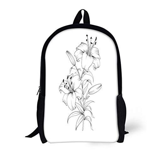 Pinbeam Backpack Travel Daypack Flower White Lily Blooming Outline Lilly Drawing Sympathy Waterproof School Bag (Blossom Calla White)
