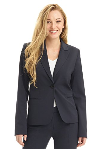 Rekucci Collection Women's Blazer with Single Button Reese Pocket (8,Navy)