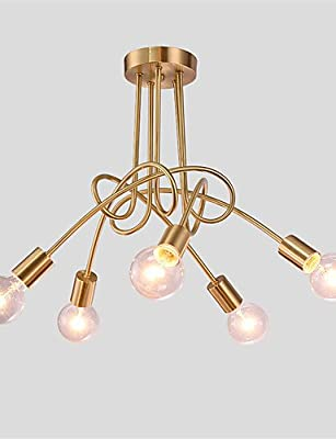 Modern retro luxury Chandeliers 5 heads Copper Multiple rod Ceiling Dome lamp Creative Personality Retro Living Room Dining Room Ceiling light , 110-120v