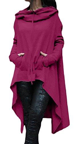 Vestito Delle Con Orlo Felpa Zhaoabao Pianura Viola Manica Cappuccio au Asimmetrico Lunga Donne waTBnqf