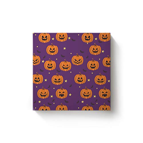 EZON-CH Canvas Wall Art Square Oil Painting Modern Artworks Office Home Decor,Pumpkin Bat Star Halloween Purple Pattern Canvas Artworks,Stretched by Wooden Frame,Ready to Hang,12 x 12 Inch