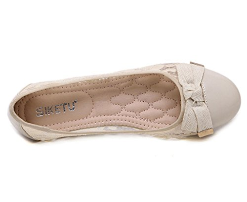 Minetom Femme Chaussure Ballet Casual Plat Chaussures Mocassin Avec Bowknot Abricot ljT0QNt3RG