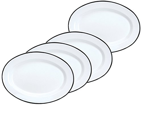 Crow Canyon Enamelware Oval Dinner/Salad/Serving Plates, Classic Tableware - Set of 4 - Solid White with Black Rim Color, 12 Inches x 8.75 Inches (4 Solid Rim Dinner Plates)