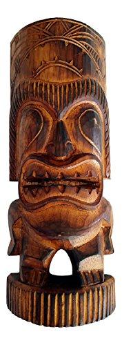 """Wood Tiki Man Statue, 12"""" -"""