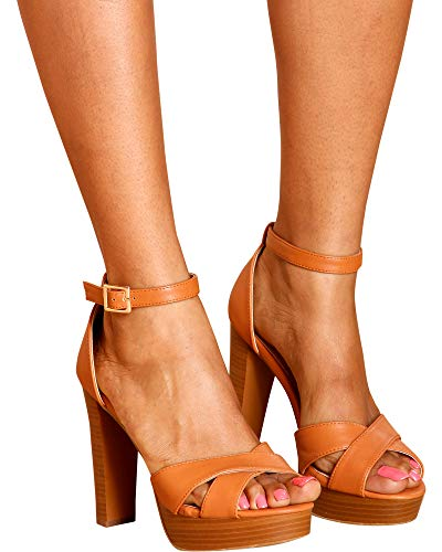 Top Moda Toby 3 Womens Cross Strap Open Toe Chunky Heel Platform Sandals Tan 5 by Top Moda