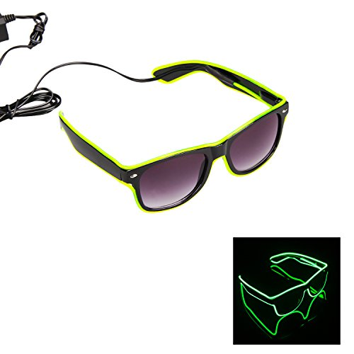 iChase LED Light Up Glasses ,EL Wire Fashion Neon Shutter Electroluminescent Flashing LED Sunglasses with Battery case Controller for Halloween Christmas Birthday Party Favor (Lemon Green-Dark)