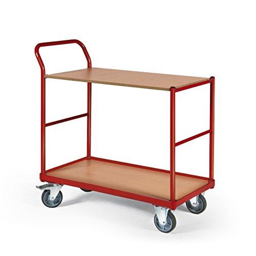 Stabilux Tischwagen, 250kg, 2 Ladeflächen, 1000x600mm, ROT