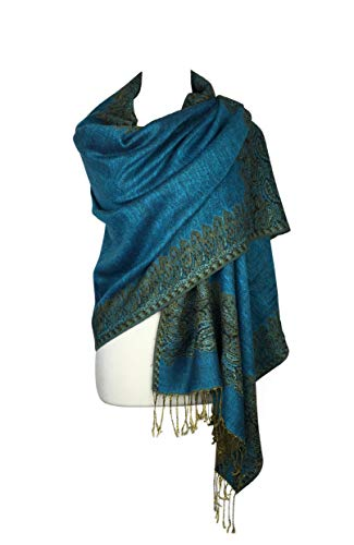 (Paskmlna Border Pattern Double Layered Reversible Woven Pashmina Shawl Scarf Wrap Stole, 003#11turquoise,)