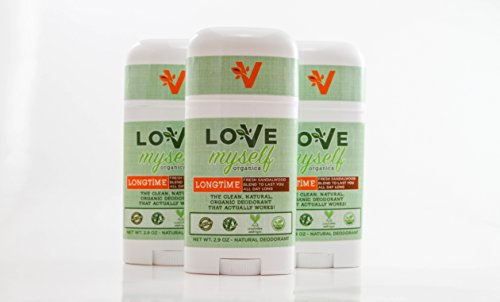 The MOST Clean, Organic and Natural Deodorant that Actually Works! Coconut Oil based, Aluminum Free, Vegan, All-Natural Organic Deodorant. Love Myself Organics - LongTime - 3 Pack Bundle