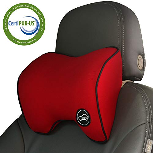 Car Neck Support Pillow for Driving, Car Seat Headrest Pillow with Soft Memory Foam (Red)