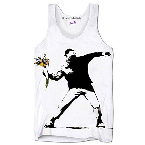 - Bang Tidy Clothing Men's Graphic Tank Top Summer Beach Sleeveless T Shirt Banksy Flower Thrower Printed Tank