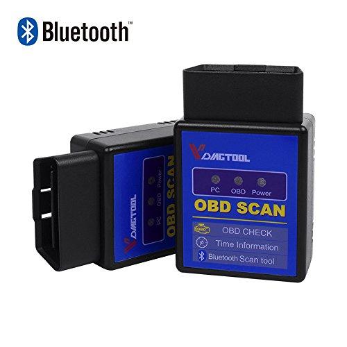 VDIAGTOOL ELM327 Bluetooth OBD2 Scanner, ELM 327 V1.5 OBDII Adaptor Scanner Android Torque Code Reader Diagnostic Tool