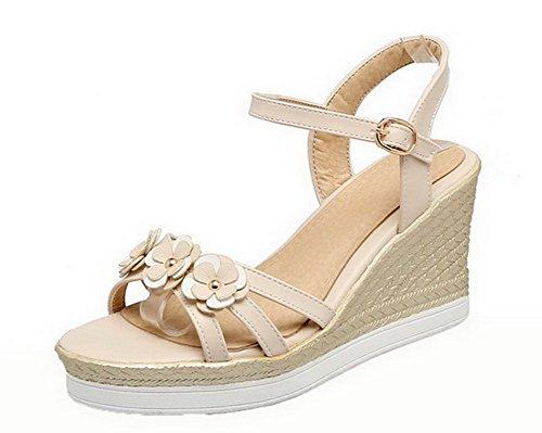 VogueZone009 Women Open Toe Buckle PU Solid High-Heels Sandals, CCALO012673 Beige
