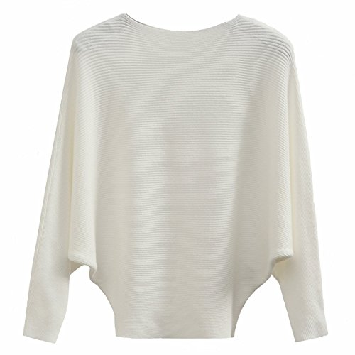 Sweater Pullover Boatneck - GABERLY Boat Neck Batwing Sleeves Dolman Knitted Sweaters and Pullovers Tops for Women (White, One Size)