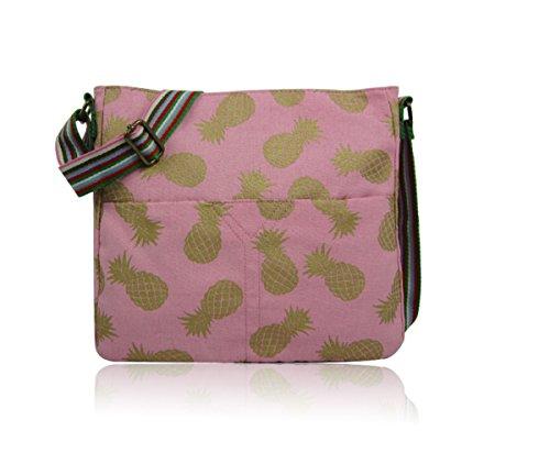 Body Cross Canvas School Bag Flower NEW Ladies Messenger Bag Pink Craze Girls Bag London Print 4q1pFSUw