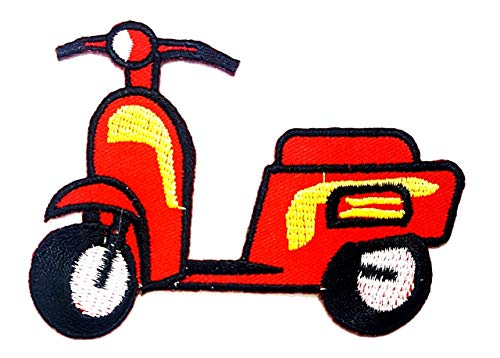 Red Scooter Motorcycle Vintage Classic Biker Hippie Cartoon Children Kid Patch Clothes Bag T-Shirt Jeans Biker Badge Applique Iron on/Sew On Patch