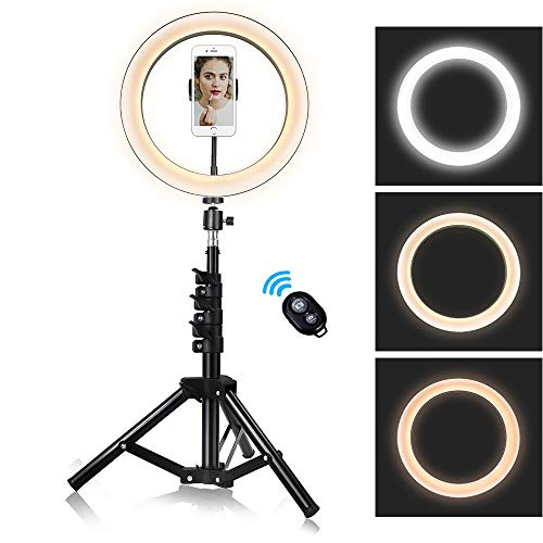 10-inch Ring Light with Stand Adjustable [15-47 inches],Dimmable Camera Lights with Cell Phone Holder for YouTube Makeup Video,3 Color Settings - White,Warm,Yellow