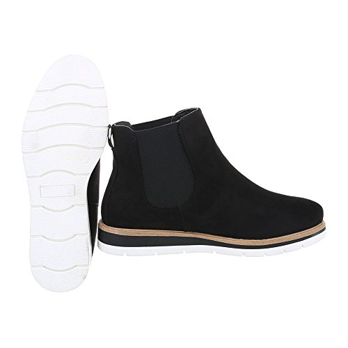 Ital-Design Chelsea Boots Damenschuhe Moderne Stiefeletten Schwarz H947