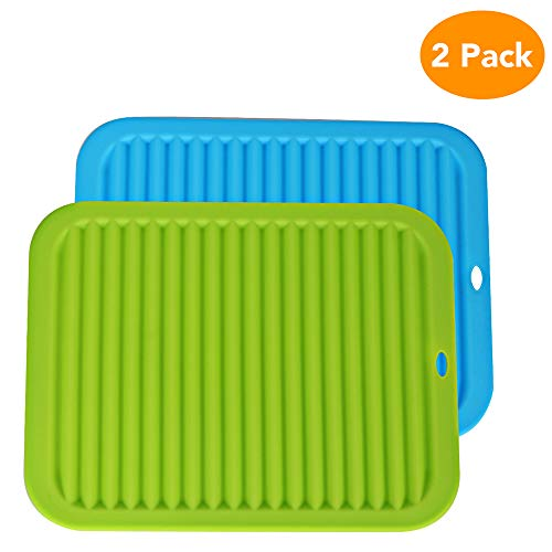 Aorange Trivets for Hot Dishes, Multi-PurposeSilicone Trivets, Non Slip Pot Handles, Silicone, Waterproof Silicone Hot Pads and Trivets, Durable Silicone Pot Holder, Pack of 2, Green & Blue ()
