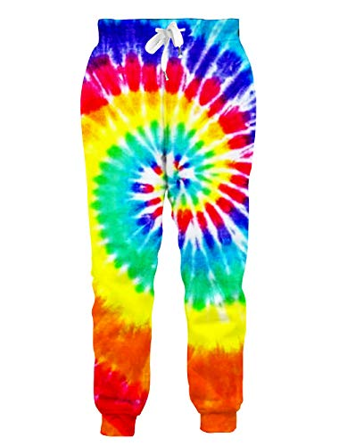 RAISEVERN Mens/Womens Sweatpants 3D Colorful Tie-dye Joggers Pants Rainbow Neon Sportswear Baggy Trousers with Drawstring