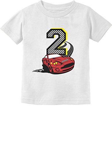 Tstars TeeStars - 2nd Birthday Race Car Party 2 Year Old Boy Toddler Kids T-Shirt 2T White