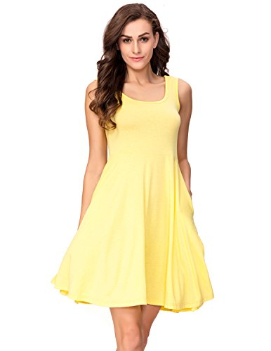 One Sight Women's Scoop Neck Tank Dress with Pockets Sleeveless Casual Loose Midi Flared Summer Dress, Yellow, - Sight One
