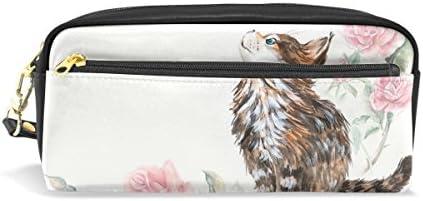 Estuche para lápices, diseño de gato con rosas florales, bolsa de maquillaje de viaje, gran capacidad, piel impermeable, 2 compartimentos para niñas, niños, mujeres, hombres: Amazon.es: Oficina y papelería