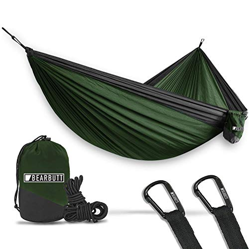Bear Butt Lightweight Double Camping Parachute Hammock-Large, Portable Two-Person Hammock for Hiking & Backpacking – 16 Colors Available (Green/Charcoal)