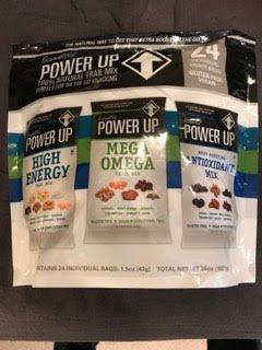 Power UP 100% Natural Trail Mix 3 Varieties-HIgh Enery, Mega Omega and Antioxidant Mix (1 pack)