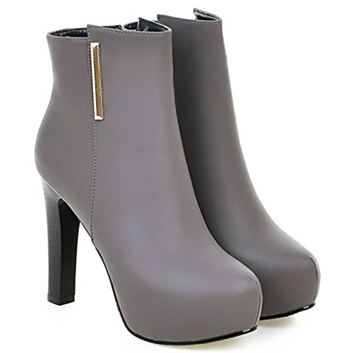 LongFengMa Women's High Heel Platform Ankle Boots Glitter Stiletto Shoes Gray 89RDZk