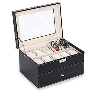 Smartbuy247 20 Grids Black Faux Leather Watch Jewellery Display Box Storage Case Glass Top