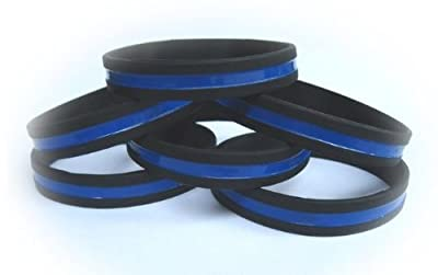 Police Thin Blue Line Silicone Wristband Bracelet PACKAGE OF TEN