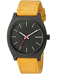 Nixon Mens Time Teller Quartz Metal and Leather Watch, Color:Orange (Model: A0452448-00)